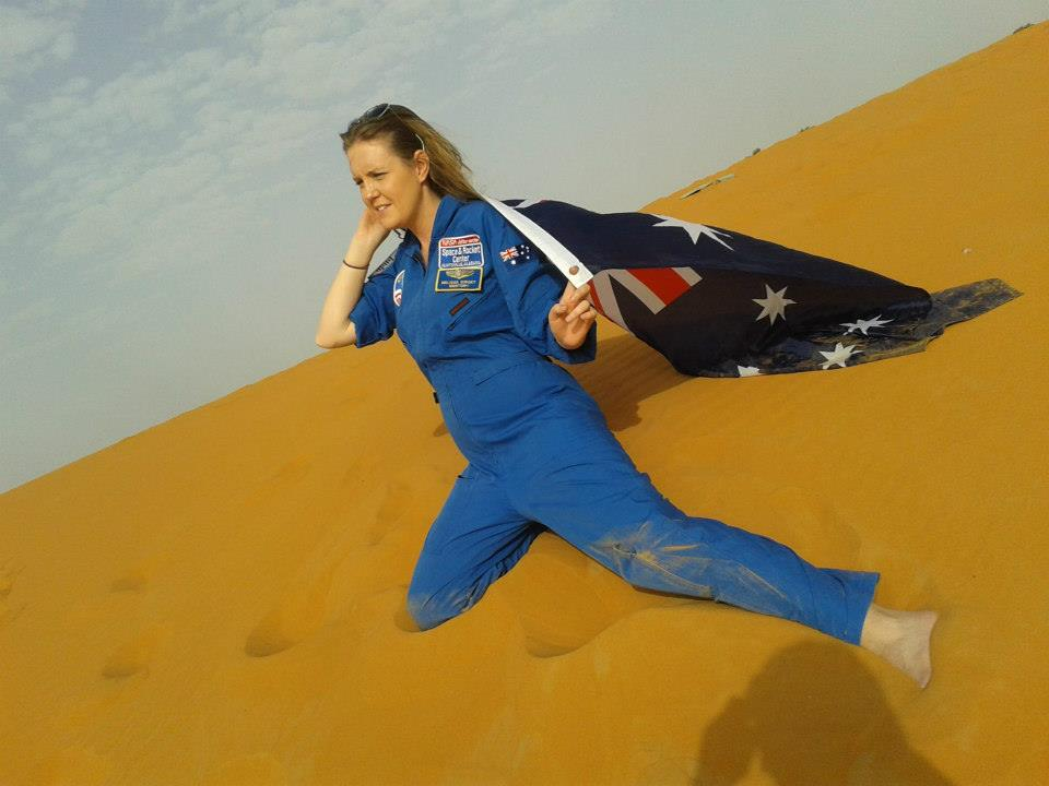 After a work placement for Space Camp, I found myself backpacking with my uniform in tow. This is me in the Sahara Desert in Morocco.